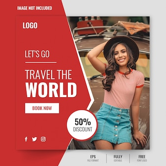 Reisaanbieding instagram postsjabloon of vierkante flyer