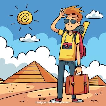 Reisachtergrond met de mens voor piramides