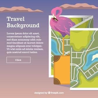 Reisachtergrond met kaart en koffer