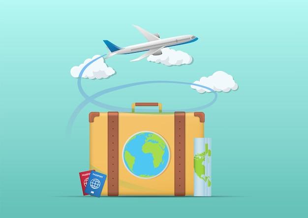 Reisachtergrond met koffer en vliegtuig