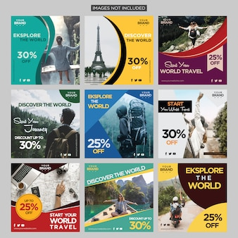Reisavontuur sociale media bericht ontwerpsjabloon premium vector
