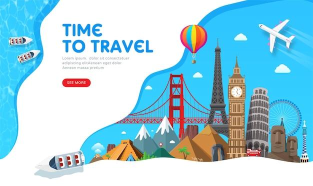 Reisbannerontwerp met beroemde bezienswaardigheden voor populaire reisblog