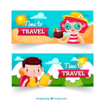 Reisbanners met mensen op vakantie