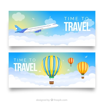 Reisbanners met plat ontwerp