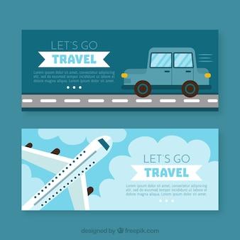 Reisbanners van vliegtuig en auto