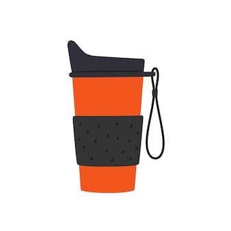 Reisbeker met dop en handvat. herbruikbare beker, thermomokken. ontwerpen van thermoskan voor koffie om mee te nemen. vectorillustratie geïsoleerd in flat en cartoon stijl op witte achtergrond.