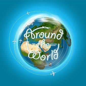 Reisbestemming concept met logo. arownd het wereldconcept