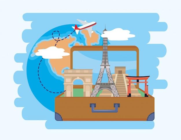 Reisbestemming en aktetas met globale kaart en vliegtuig