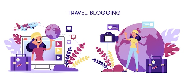 Reisblogger concept. vrouw schietvideo voor blog