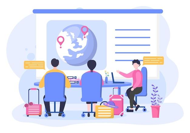 Reisbureau achtergrond vectorillustratie. mensen bezoeken de bezienswaardigheden van deze wereldberoemde toeristische attracties met behulp van vliegtuig-, auto- of bootvervoer