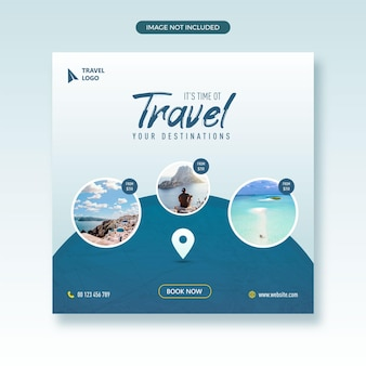Reisbureau en toerisme sociale media plaatsen webbanner met vierkante flyer-sjabloon voor fotolijst