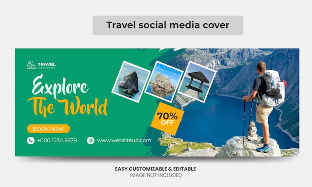 Reisbureau facebook cover foto ontwerp toerisme marketing social media cover