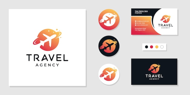 Reisbureau logo en visitekaartje ontwerpsjabloon inspiratie