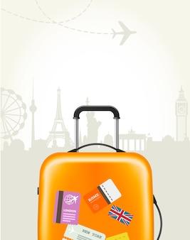 Reisbureau poster met plastic koffer en europese oriëntatiepunten - toeristische poster
