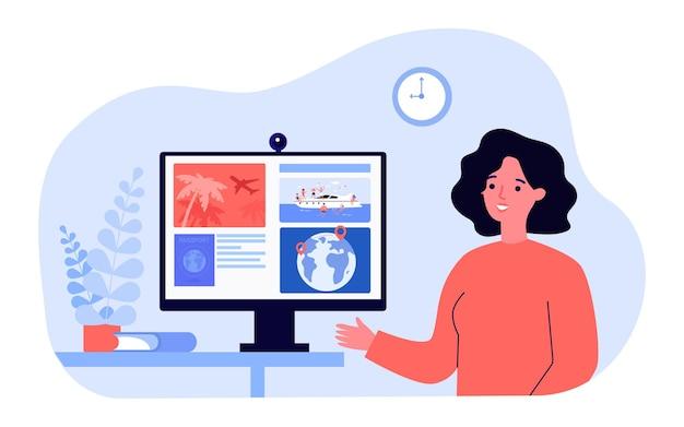 Reisbureau praten over details van toeristische reizen. platte vectorillustratie. vrouw wijzend naar computerscherm met afbeeldingen van vluchten, jacht, buitenlands paspoort. service, vakantie, resortconcept