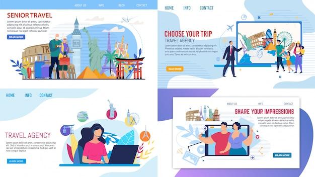 Reisbureau service webpagina set aanbieden tours