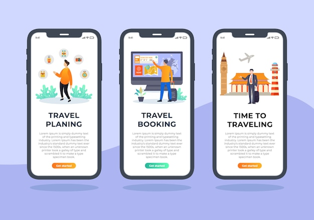 Reisbureau set van onboarding scherm mobiele ui ontwerp