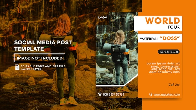 Reisbureau thema social media postsjabloon