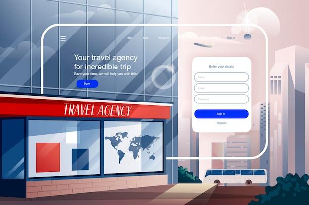 Reisbureau voor ongelooflijke reis bestemmingspagina sjabloon vectorillustratie