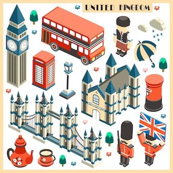 Reiscollectie van het verenigd koninkrijk in 3d isometrisch plat ontwerp