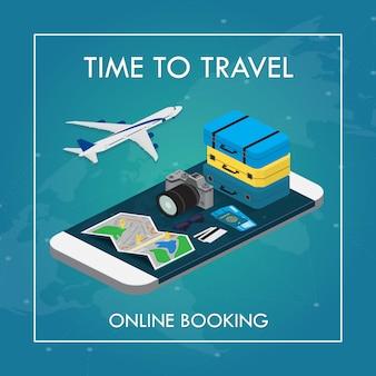 Reisconcept in isometrische stijl. paspoort, tickets, tassen en vliegtuig, reisbenodigdheden op een smartphone met touchscreen. online boeken.