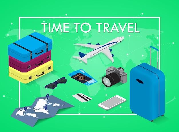 Reisconcept in isometrische stijl tijd om te reizen. paspoort, tickets, tassen en vliegtuig. reisuitrusting.