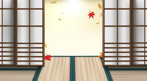 Reisconcept met herfstseizoen en rode esdoornbladeren in japanse kamer