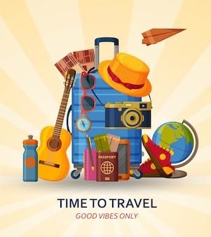 Reisconcept met koffer, zonnebril, hoed, camera en bol op gele sunray achtergrond. vliegende papieren vliegtuig aan de achterkant. illustratie.