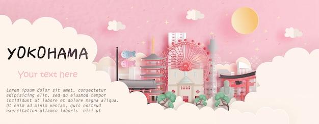 Reisconcept met yokohama, het beroemde oriëntatiepunt van japan op roze achtergrond. papier gesneden illustratie