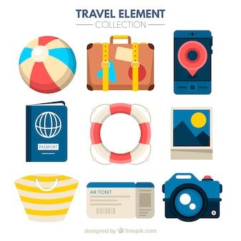 Reiselementcollectie met plat ontwerp