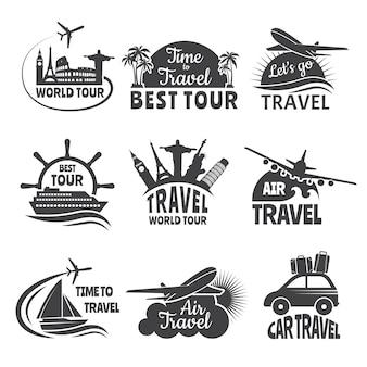 Reisetiketten die met illustraties van vliegtuig worden geplaatst