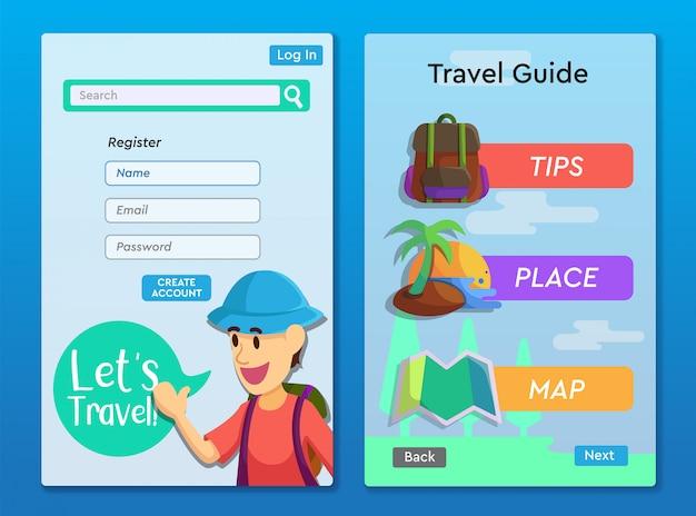 Reisgids app lay-outontwerp