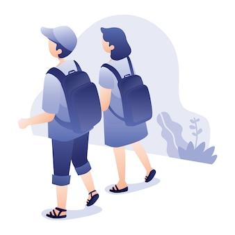Reisillustratie met jonge man en vrouwengang die samen rugzak dragen