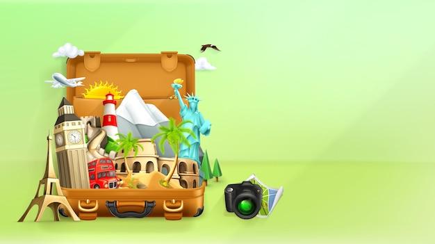 Reisillustratie met reiselementen in koffer