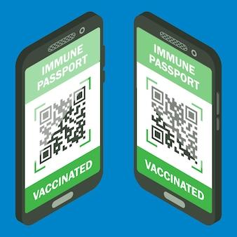 Reisimmuunpaspoort in mobiele telefoonisometrisch immuniteitscertificaat voor veilig reizen of winkelen