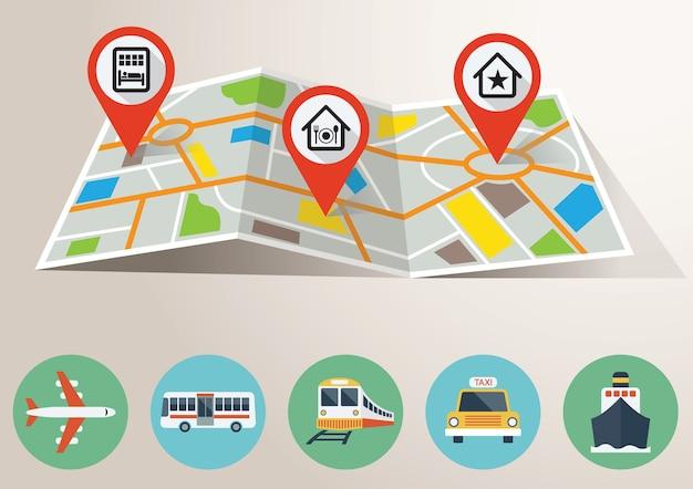 Reiskaart met gps-markering en transportpictogrammen