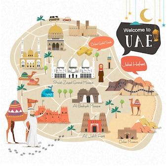 Reiskaartontwerp van de verenigde arabische emiraten met attracties