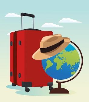 Reiskoffer en wereldbol met hoed
