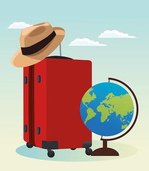 Reiskoffer met hoed en globe