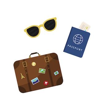 Reiskoffer, paspoort en kaartjes. vector illustratie
