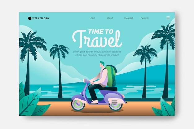 Reislandingspagina met toerist