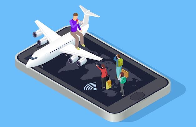 Reismanager nodigt uit om te reizen concept. isometrisch online reisboekingsconcept
