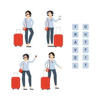 Reismeisje met bescheiden koffer en outfit