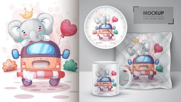 Reisolifant met luchtballonposter en merchandising. vector eps 10