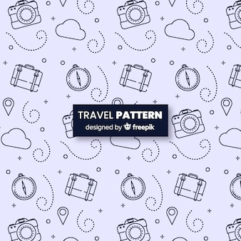Reispatroon met elementen en streepjeslijnen