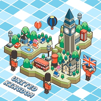 Reisposter verenigd koninkrijk in 3d isometrische platte ontwerp