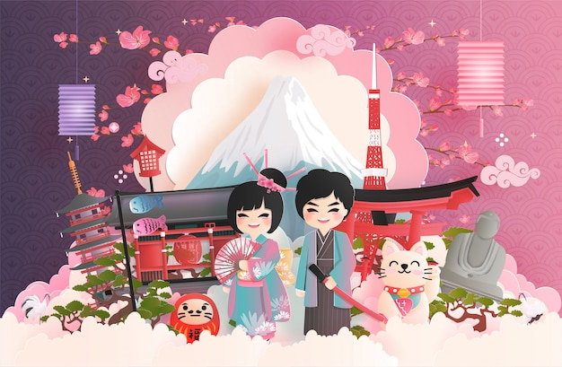 Reisprentbriefkaar van het beroemde oriëntatiepunt van japan.