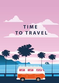 Reisreis. zonsondergang, oceaan, zee, zeegezicht. surfwagen, bus