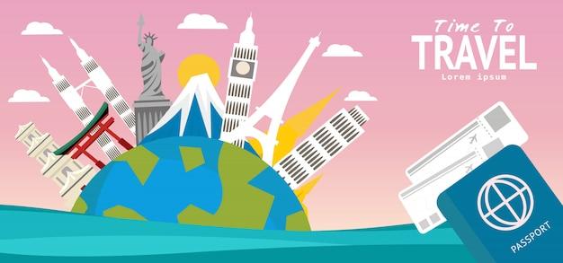Reissamenstelling met beroemde wereldoriëntatiepunten reist rond de wereld en toerismeconcept