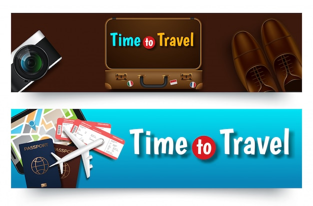 Reissjabloon voor spandoek, horizontale reclamebanner